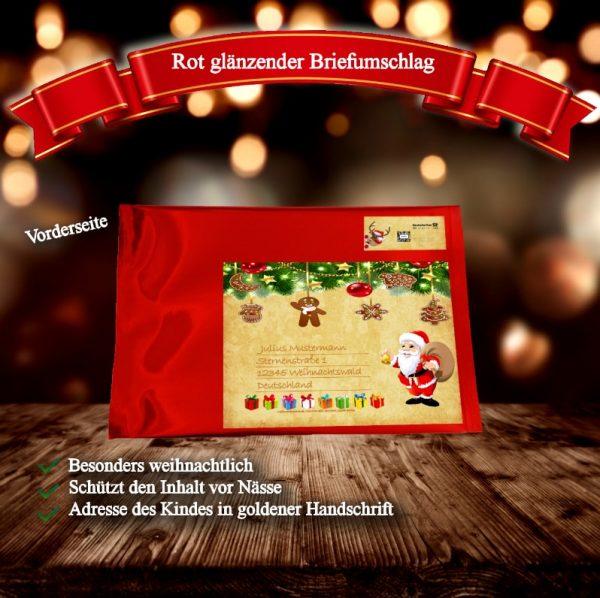 Glänzender Briefumschlag macht daraus ein besonderes Weihnachtsgeschenk.