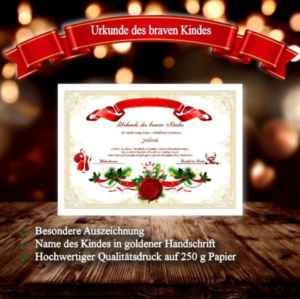 Brave Kinder bekommen eine Urkunde vom Weihnachtsmann.
